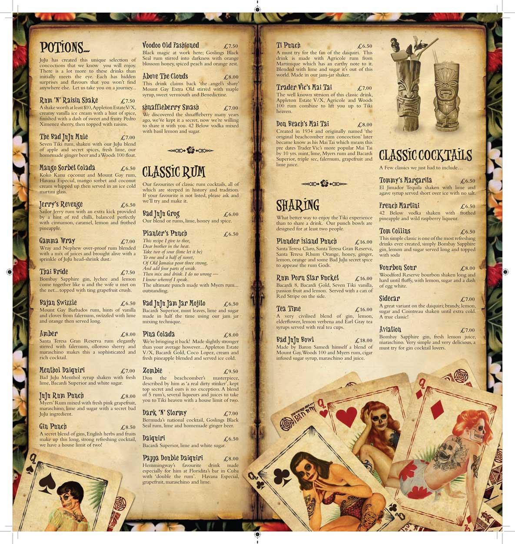 Bad juju tikki bar menu