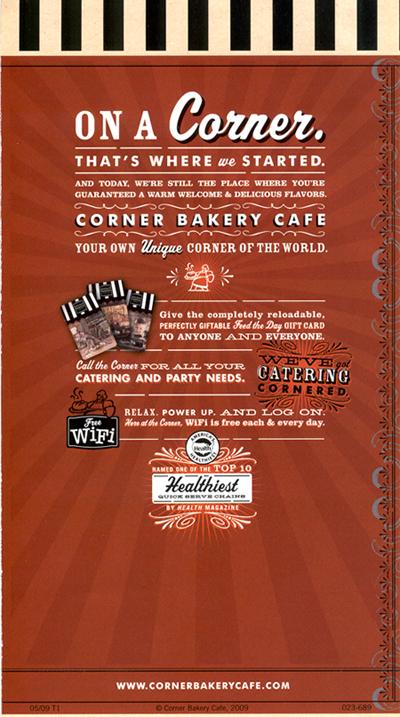 photo about Corner Bakery Printable Menu called Corner Bakery